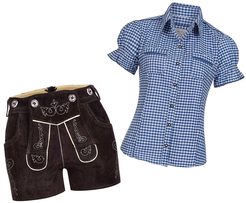 Damen Set Trachten Lederhose Shorts dunkelbraun kurz neue Länge + Träger + Trachtenbluse Mala versch. Farben, Marke Gaudi-Leathers