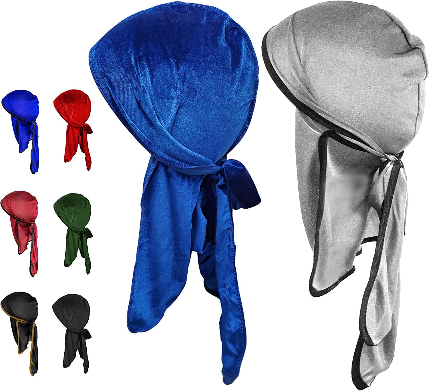 durag Pack, 4 Velvet durag 4 durags for Men Silk Luxury Velvet durag for Men 8 Pk Durags for Men