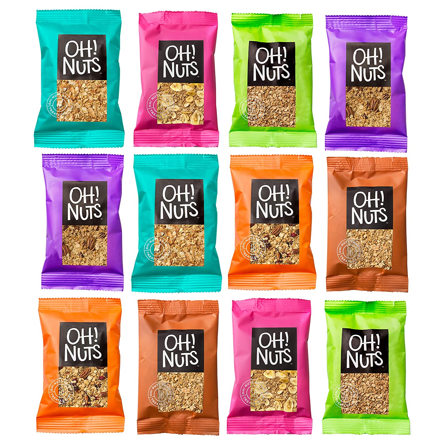 Oh! Nuts Granola Single Serve Packs   Healthy Gourmet Set w/ 12 Assorted Serving Size Bags of Toasted Oats, Nuts & Dried Fruit   Perfect High Protein Pantry Snacks for Cold Cereal, Yogurt & More