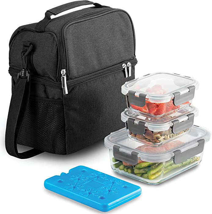 Insulated 2-Compartment Lunch Bag with Ice Pack & Glass Food Container Set, Shoulder Strap Lunch Tote for Men & Women 600D Oxford Leakproof Insulated Reusable Lunch Box Cooler for Work, Office, School