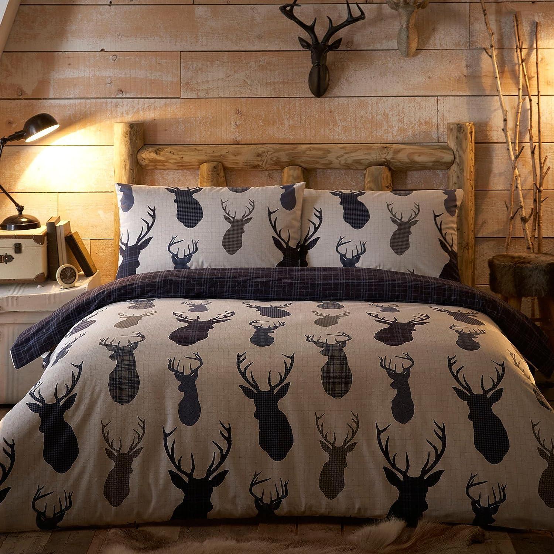 Debenhams Home Collection White & Navy 'Highland Stags' Bedding Set Double