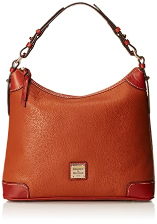 3ec1c0e8a Amazon.com: Dooney & Bourke Pebble Leather Hobo, Caramel w/Tan Trim ...