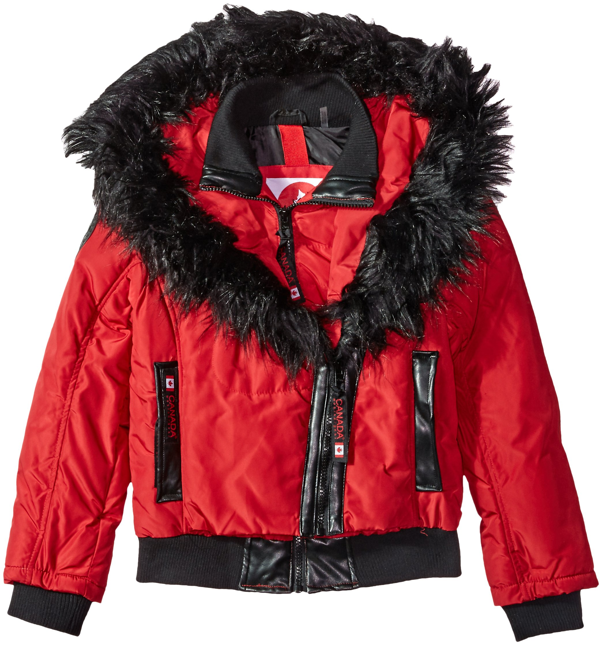 Canada Weather Gear Big Girls' Outerwear Jacket (More Styles Available), Hooded Bomber-CW050-Red, 7/8