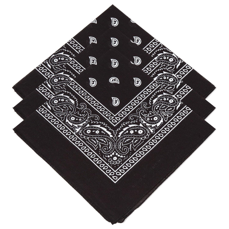 3 Unisex Black Paisley Bandanas Black
