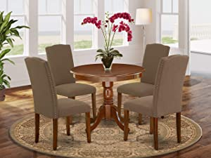 """East West Furniture 5Pc Round 36"""" Table And 4 Parson Chair With Mahogany Leg And Linen Fabric Dark Coffee, 5"""