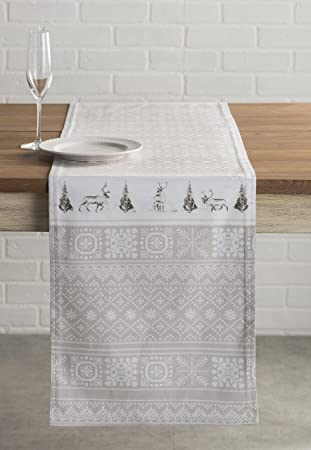 Captivating Maison Du0027 Hermine Cozy Christmas 100% Cotton Table Runner 14.5 Inch By 108  Inch