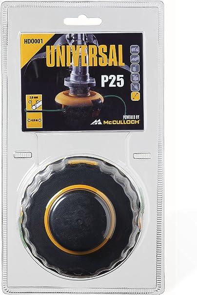 Universal 577615901 Cabezal de corte P25, HDO001 de 2 hilos con bobina, hilo de 2,0 mm x 4 m, accesorios McCulloch, Negro