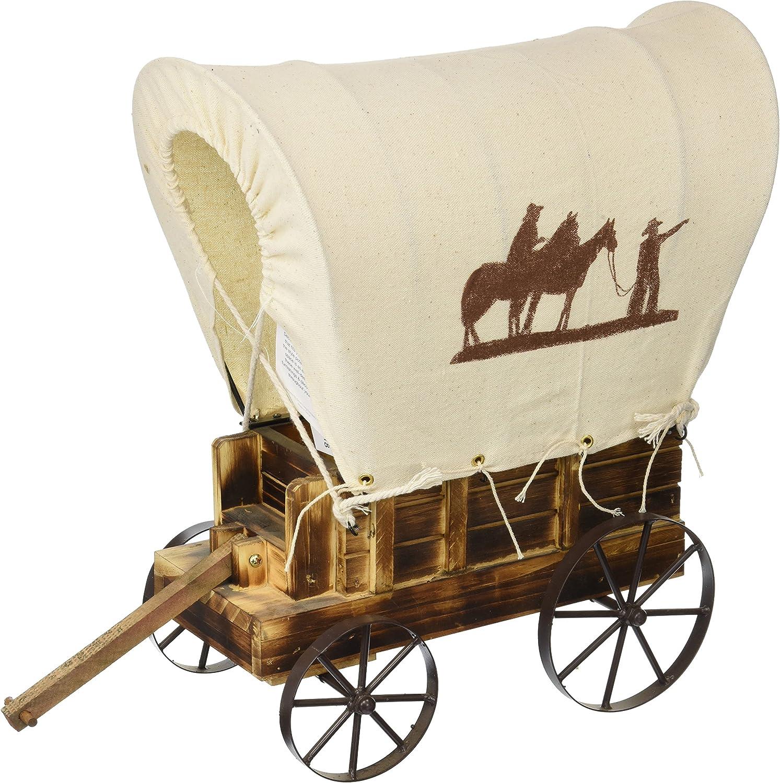 Koehler Home Decorative Western Wooden Wagon Table Charming Prairie Figurine Lamp