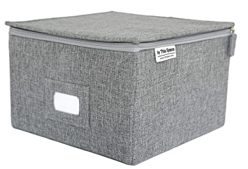 In This Space Medium Grey Twill Box with Zipper Lid