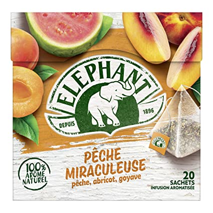 Elephant Infusion Pêche Miraculeuse 20 Sachets 38g Amazonfr Epicerie