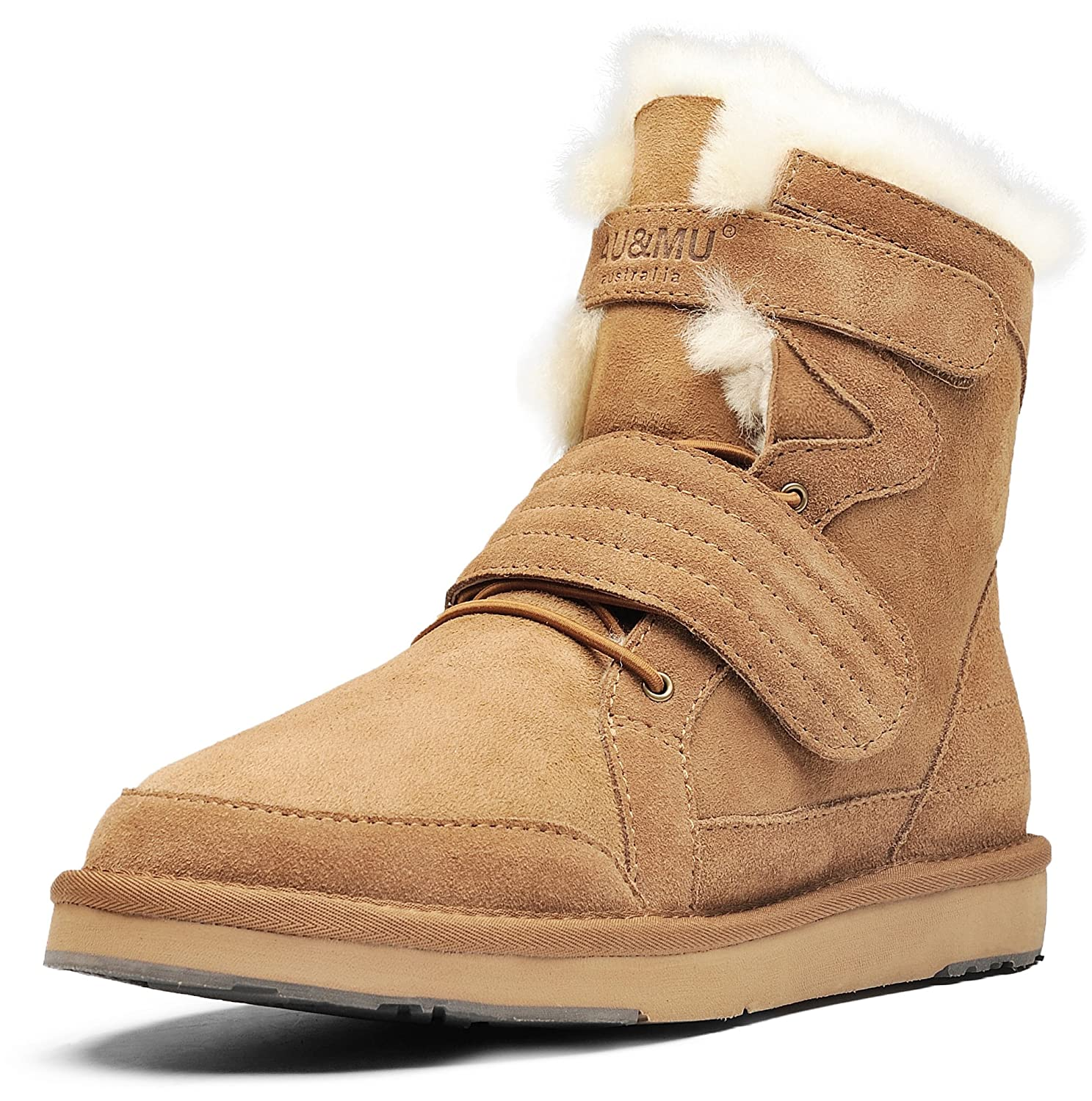 AU&MU Women's Full Fur Sheepskin Suede Winter Snow Boots B073DYY4YZ 7 B(M) US|Chestnut 3