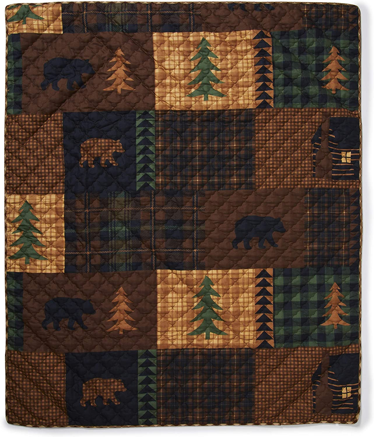 Throw Blanket - Brown Bear Cabin by Donna Sharp - Lodge Decorative Throw Blanket with Square Patchwork