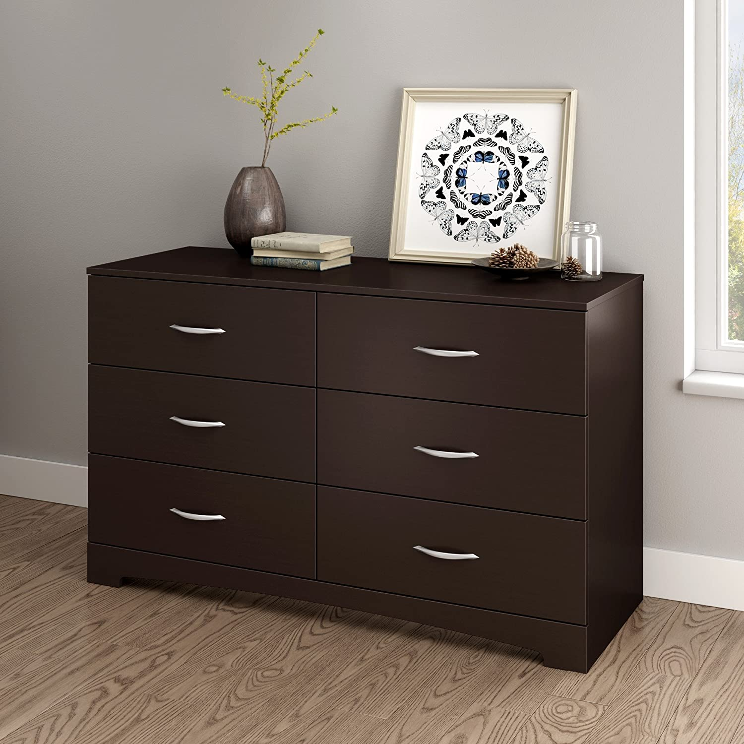 6-Drawer Triple Dresser Chocolate South Shore Furniture Step One Collection