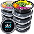 Round Plastic Meal Prep Containers - Reusable BPA Free Food Containers with Airtight Lids - Microwavable, Freezer and Dishwasher Safe - Ideal Stackable Salad Bowls - [10 Pack, 28 oz