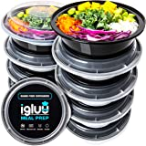 Igluu Meal Prep Round Plastic Containers - Reusable BPA Free Food Containers with Airtight Lids - Microwavable, Freezer…