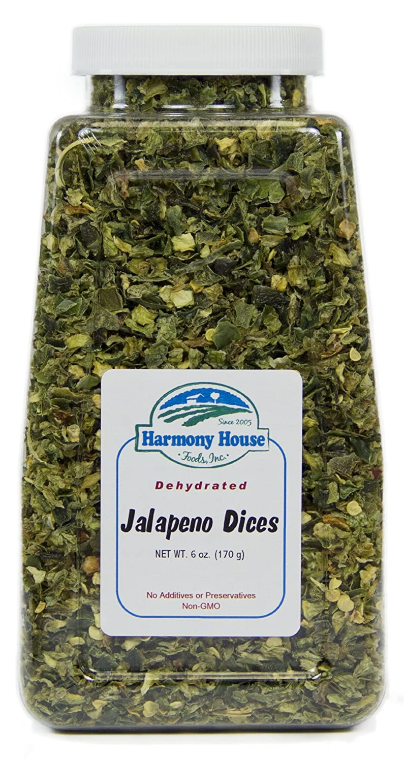 Harmony House Dried Jalapeno Peppers – Dehydrated Peppers For Cooking, Camping, Emergency Supply and More, 6 oz, Quart Jar