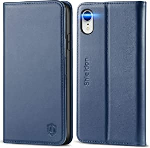 """SHIELDON iPhone XR Case, Genuine Leather iPhone XR Wallet Case Flip Book Cover Design with Kickstand and RFID Blocking Card Slots Magnetic Closure Compatible with iPhone XR (6.1"""" 2018) - Dark Blue"""