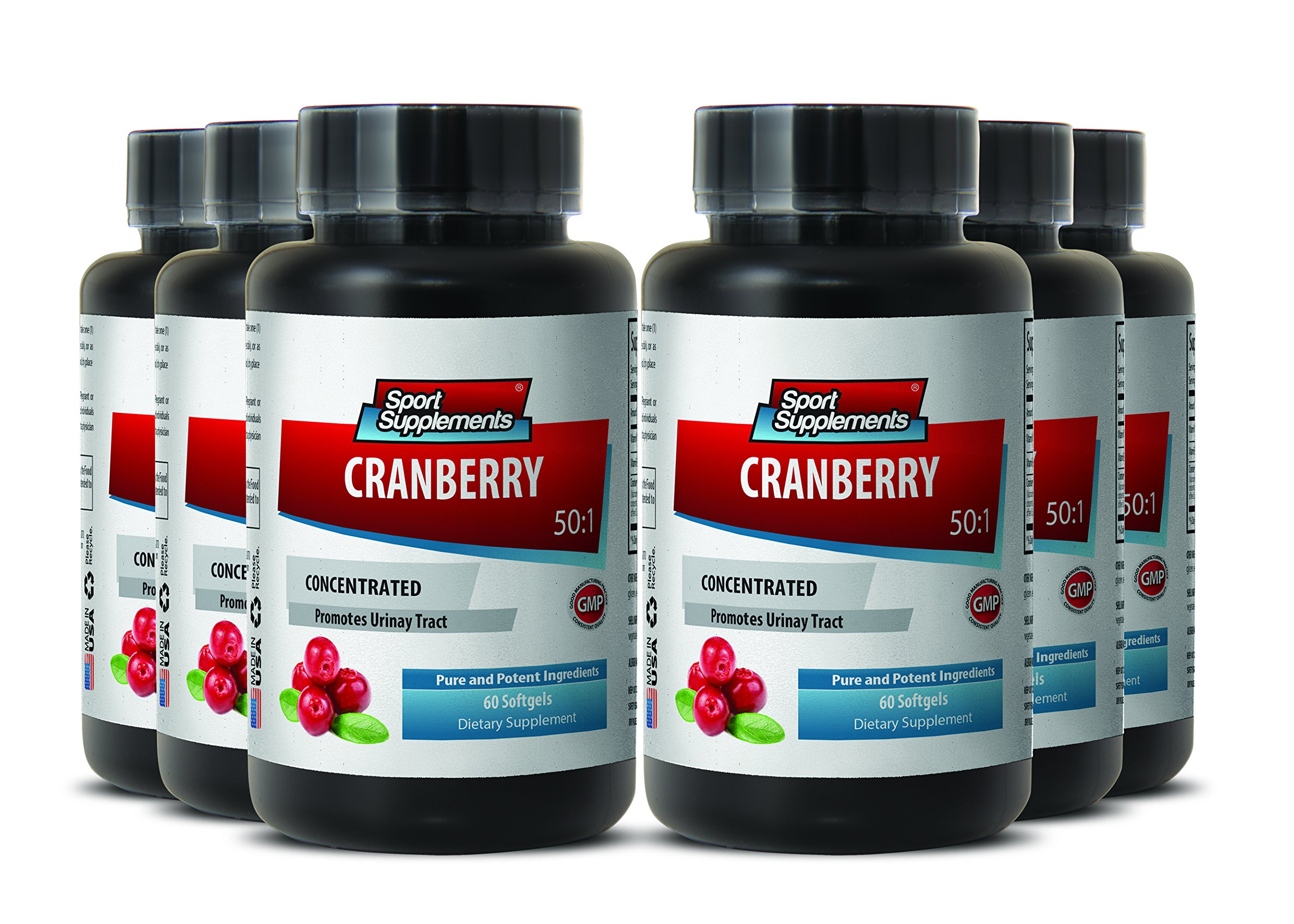Cranberry Organic Pills - Cranberry Concentrated Extract 50 : 1 Concentrate Equivalent to 12.600mg - Cranberry Supplement for Healthy Urinary System (6 Bottles)