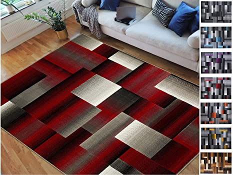 Amazoncom Handcraft Rugs Redblackgray Abstract Geometric Modern