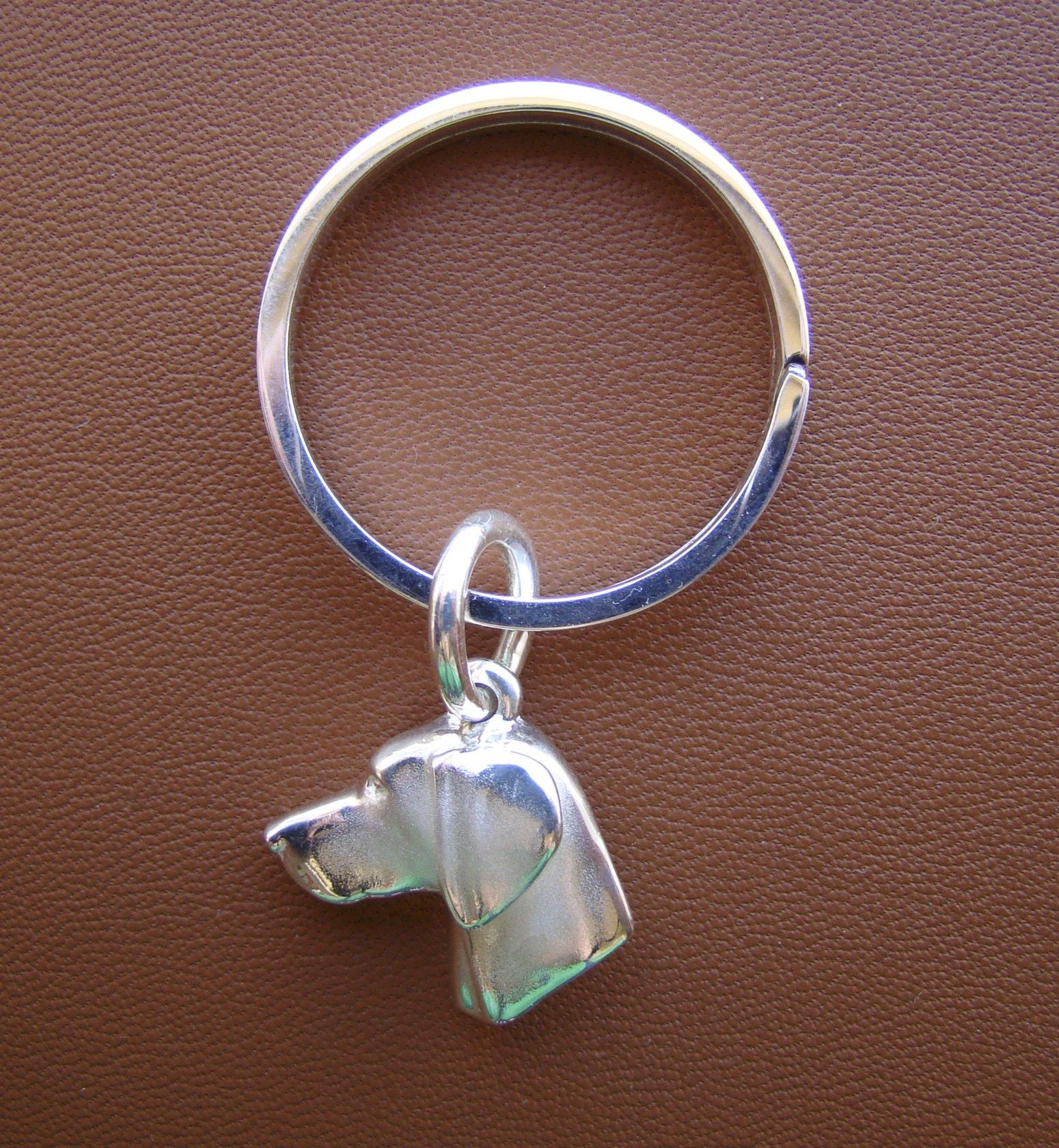 Sterling Silver Weimaraner Head Study Key Ring