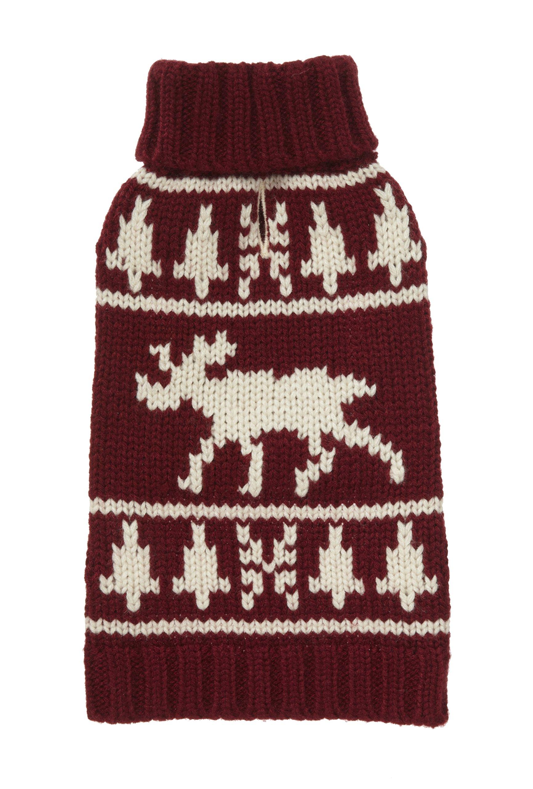 Fab Dog Americana Classics Knit Dog Sweater, Moose Burgundy, 14'' Length by fabdog