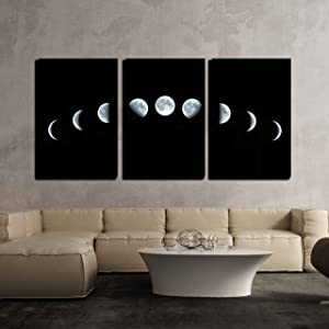 "wall26 - 3 Piece Canvas Wall Art - Nine Phases of The Full Growth Cycle of The Moon Isolated on Black Background - Modern Home Art Stretched and Framed Ready to Hang - 16""x24""x3 Panels"