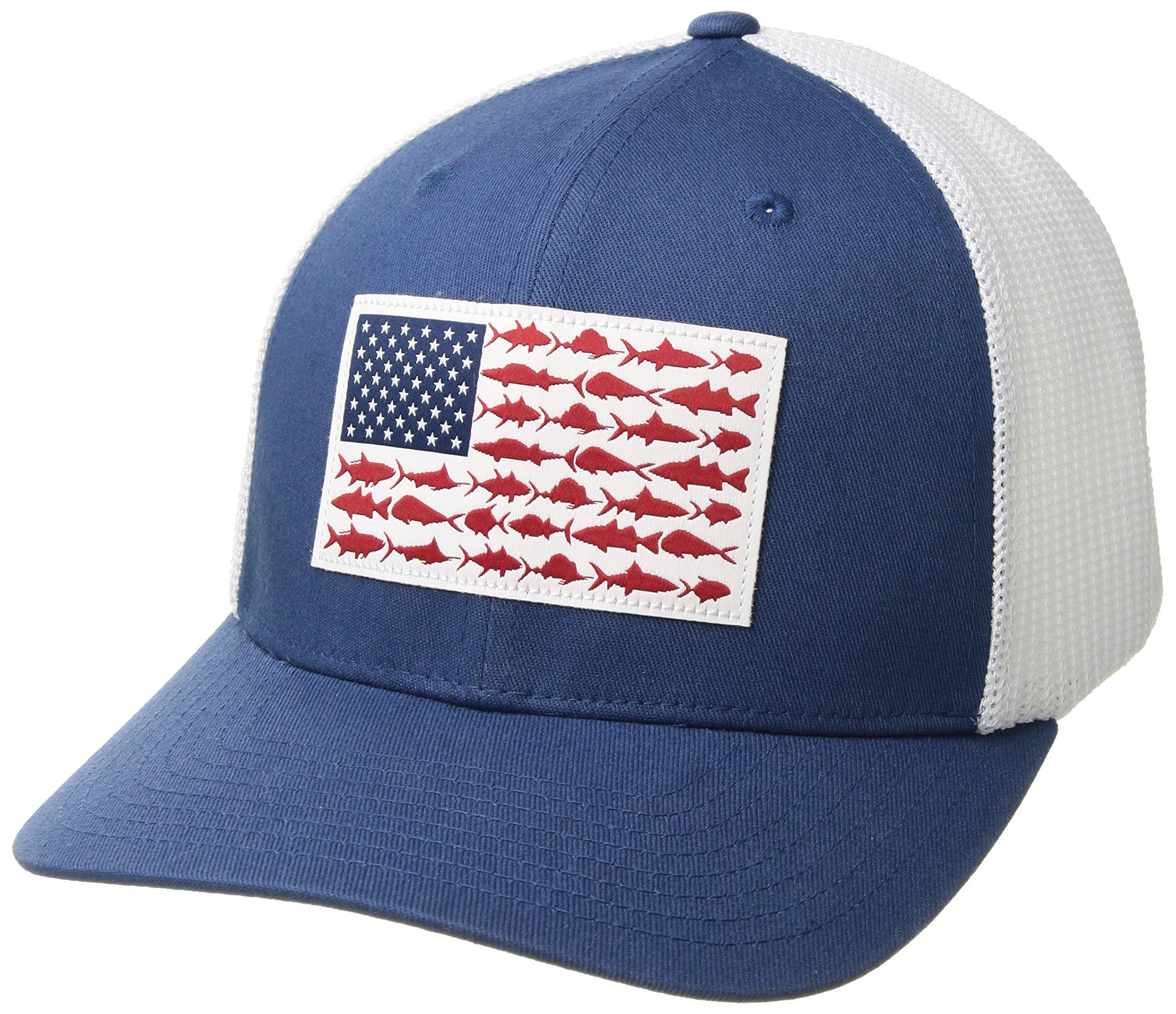 Columbia PFG Mesh Ball Cap, Night Tide/Fish Flag, Large/X-Large