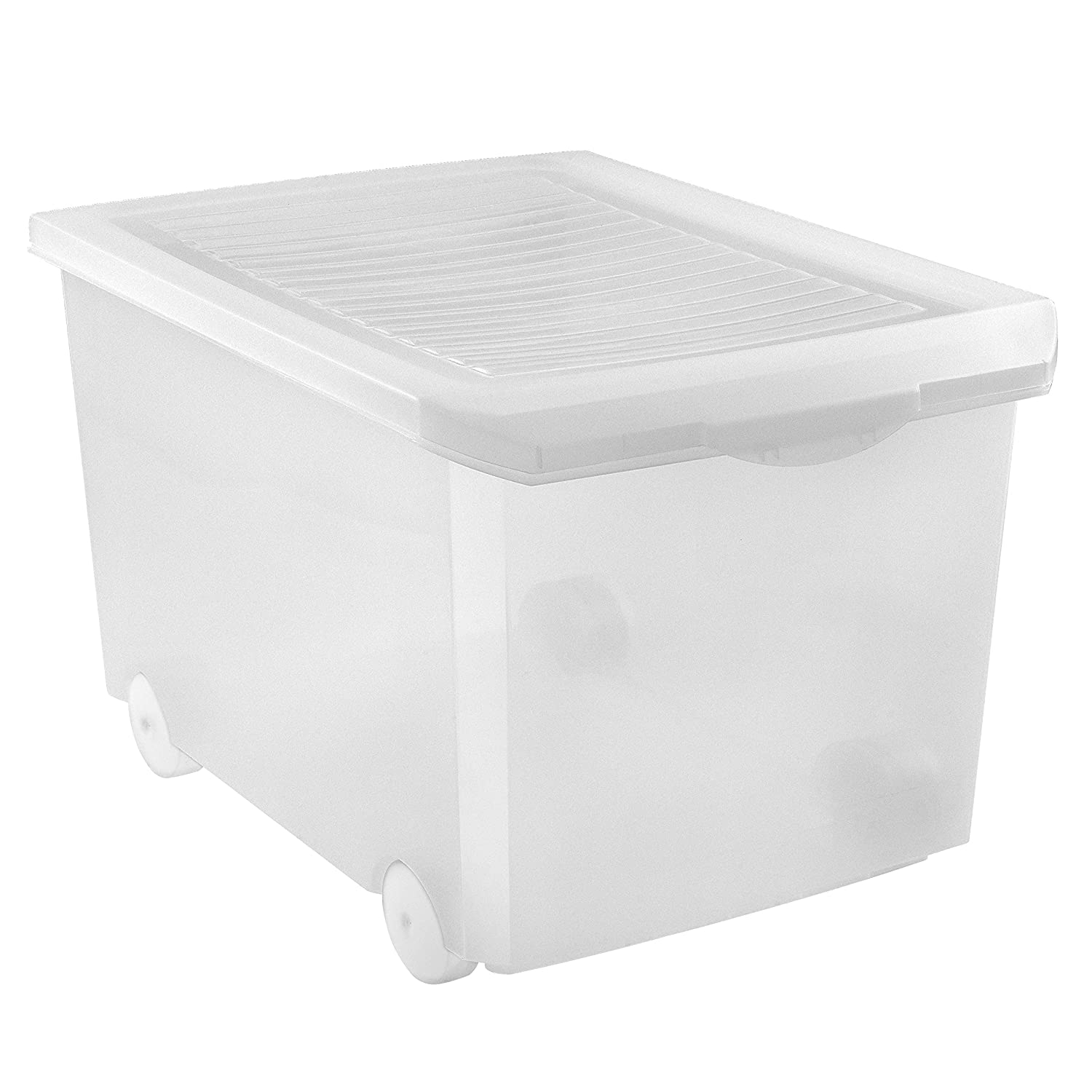 Amazon.com: Tatay Storage Box with Wheels, Transparent, 60 Litre: Kitchen & Dining