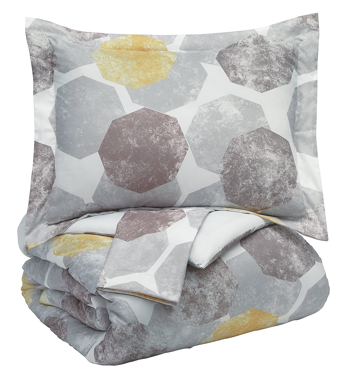 Signature Design by Ashley Q375003K Gastonia 3 Piece King Comforter Set Gray/Yellow Ashley Furniture