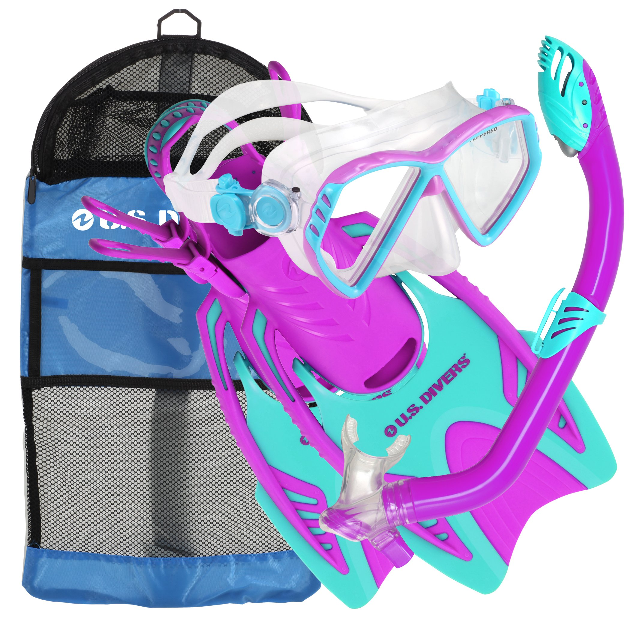 U.S. Divers Junior Regal Mask, Trigger Fins and Laguna Snorkel Combo Set, Fun Purple, Large/X-Large by U.S. Divers