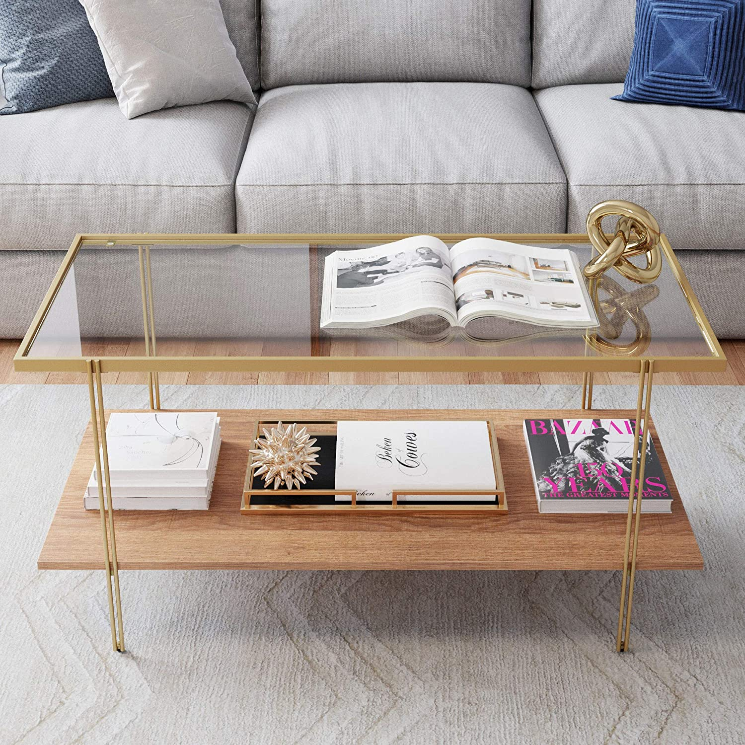 Nathan James Asher Mid Century Rectangle Coffee Table Glass Top And Rustic Oak Storage Shelf With Sleek Brass Metal Legs Gold Furniture Decor
