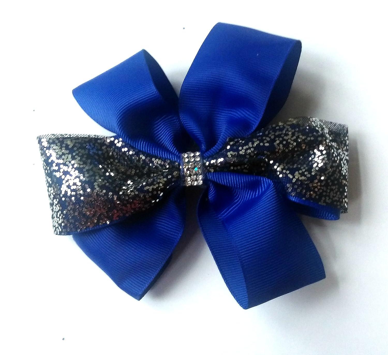 NEW DIAMANTE WITH GLITTER 6'' LENGTH GROSGRAIN ALLIGATOR HAIR CLIPS FOR GIRLS & WOMEN'S, ANY COLOUR AVAILABLE ANY COLOUR AVAILABLE (ROYAL BLUE)