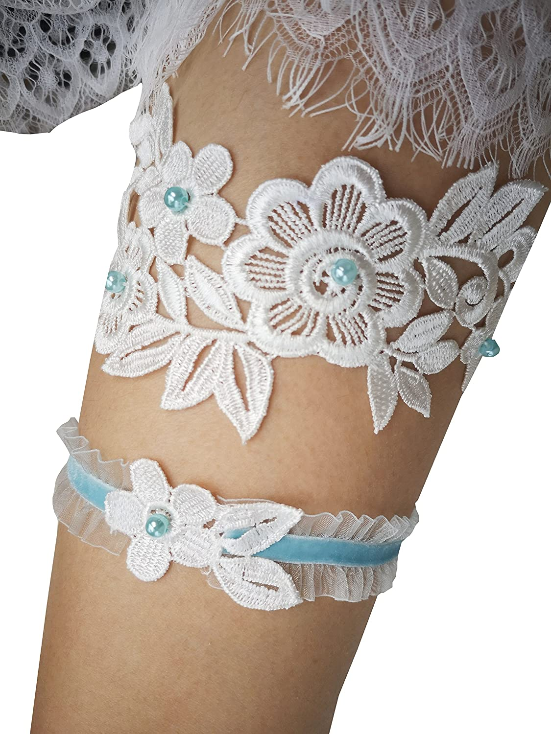 YuRong Bridal Garter Set Beaded Garter Set Wedding Garter Plus Size G28
