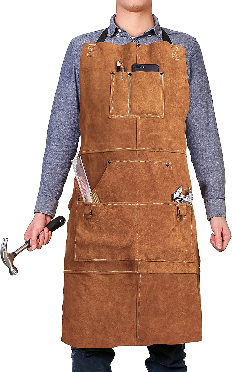 Amazon Com Leather Work Shop Apron With 6 Tool Pockets By Qeelink Heat Flame Resistant Heavy Duty Welding Apron 24 X 36 Adjustable M To Xxl For Men Women Brown