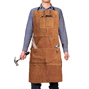 """Leather Work Shop Woodworking Apron with 6 Tool Pockets by QeeLink - Heat & Flame Resistant Heavy Duty Welding Apron, 24"""" x 36"""", Adjustable M to XXL for Men & Women (Brown)"""
