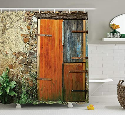 Shower Curtain Shutters Decor Set By Old Fashion Country House French Style Entrance Stone Wall