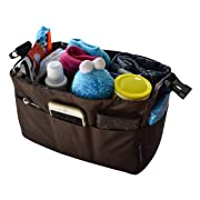 MommyDaddy&Me Diaper Bag Insert Organizer for Stylish Moms, 12 pockets, Turn Your Favorite Tote Bag into A Trendy Diaper Bag, Brown