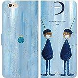 iPhone6S iPhone6 手帳型 ケース カバー 双子星 よう wonder collection 月 少年 双子 宇宙 少女 旅 おしゃれ イラスト デザイナー