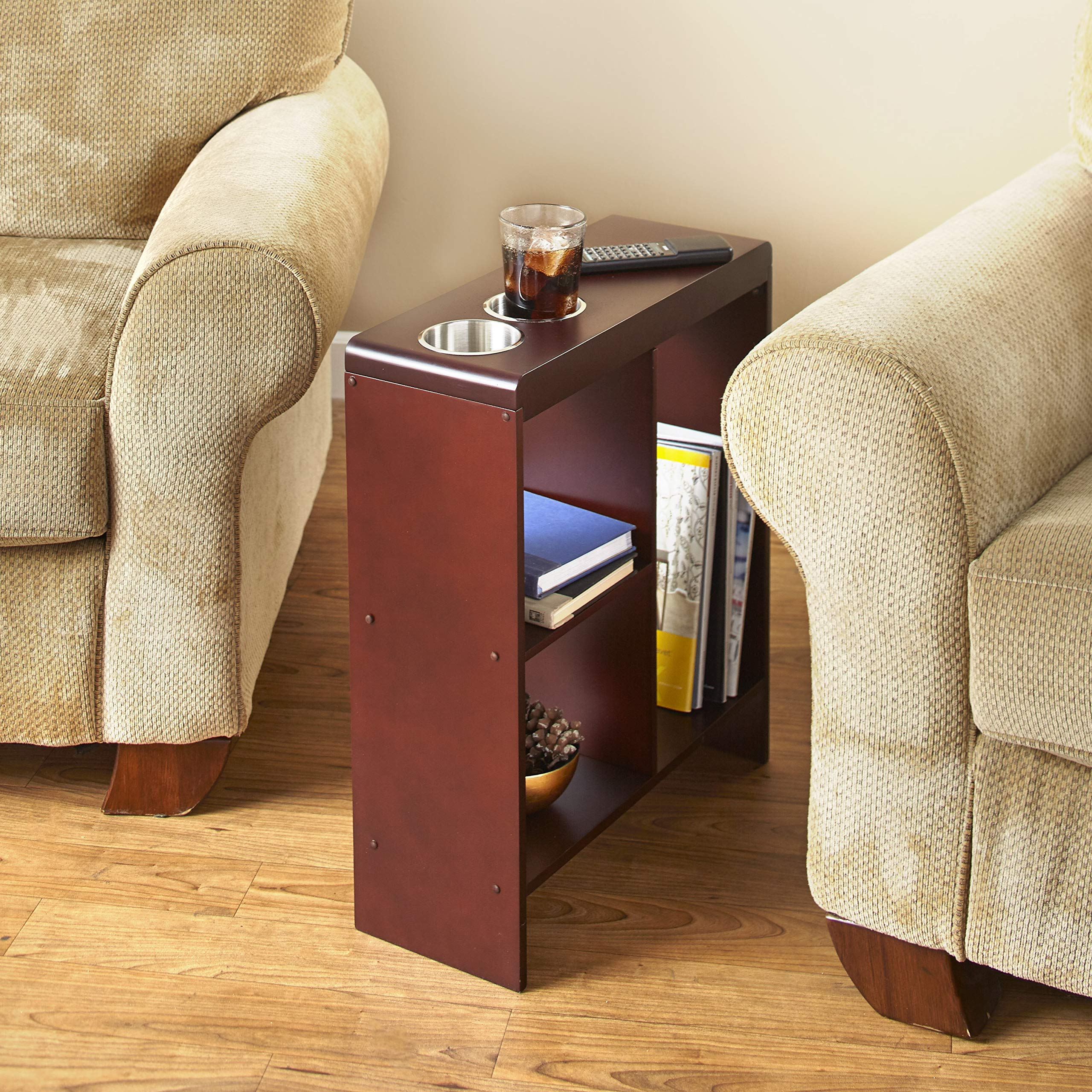 Slim End Table with Drink Holders and Built-in Shelving - Walnut Finish by The Lakeside Collection