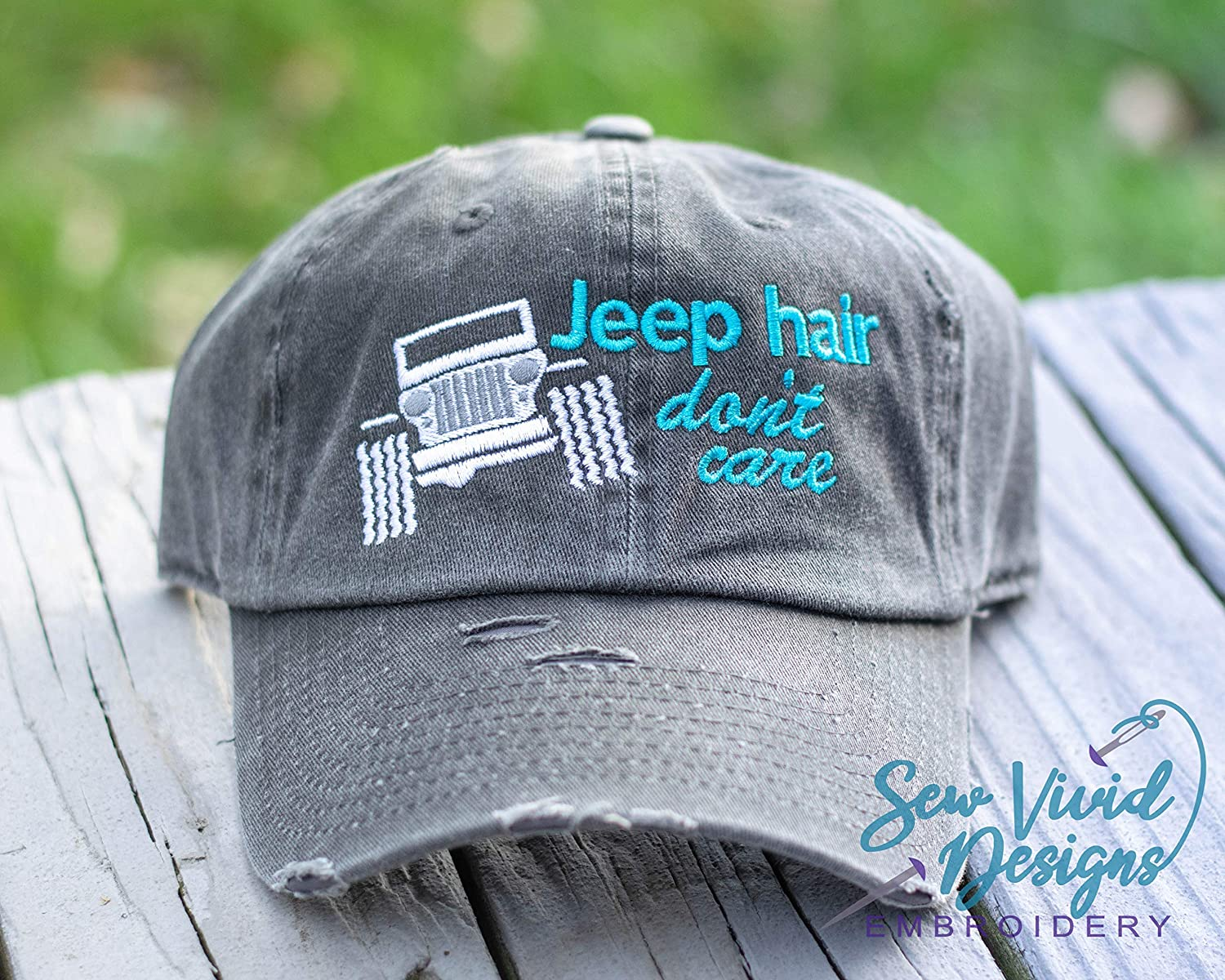 Jeep Hair Don't Care with Wrangler Distressed High Ponytail, Baseball or Trucker Cap