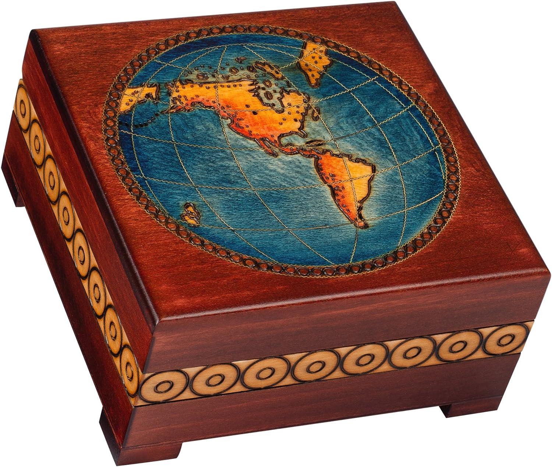 World Map Hand Crafted Mahogany Finish Keepsake Jewelry Wood Box Made in Poland M 8016 Cornell Importers Inc