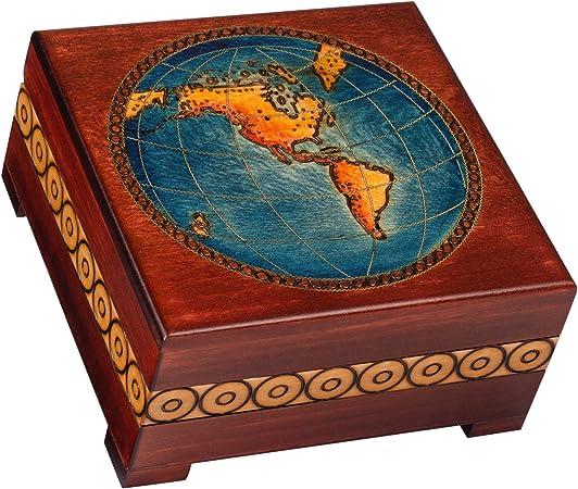 Caja de mapa del mundo, diseño de globo terráqueo, Beautiful hecho a mano joyas de recuerdo