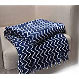 "Bertte Super Soft Knitted Decorative Blue and White Throw Blanket-Chevron, 50""x 60"" featuring twisted fringe"