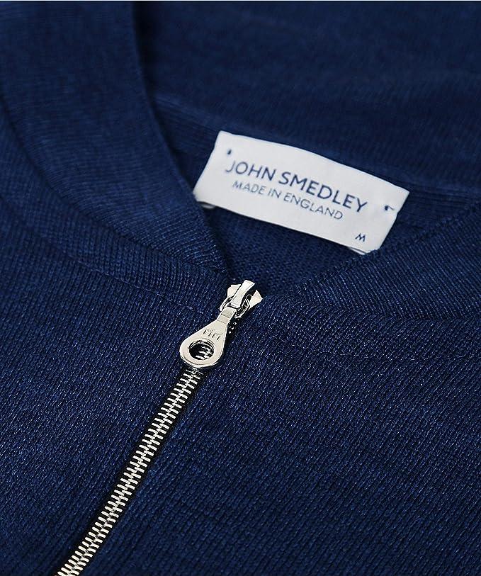 John Smedley Mens Merino Wool Zip-Through Maclean Cardigan Indigo