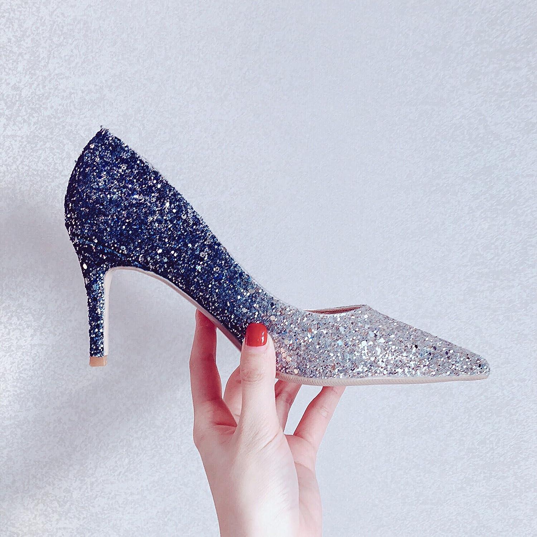 Xue Qiqi Zapatos de la Corte Zapatos de Novia de Plata Zapatos de Boda Zapatos de Mujer Zapatos de Mujer Tacones Altos con Punta Femenina Fina con 33, Azul Plata 6CM 33|Blue Silver 6C