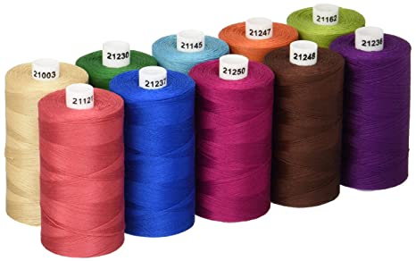 1200 Yard Spools Connecting Threads 100/% Cotton Thread Sets Set of 10 - Black