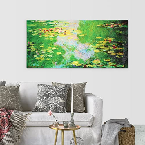 MasterPieces Water Lily 1 Monet Hand Embellished Canvas, Oil Painting, 16 L x 32 W