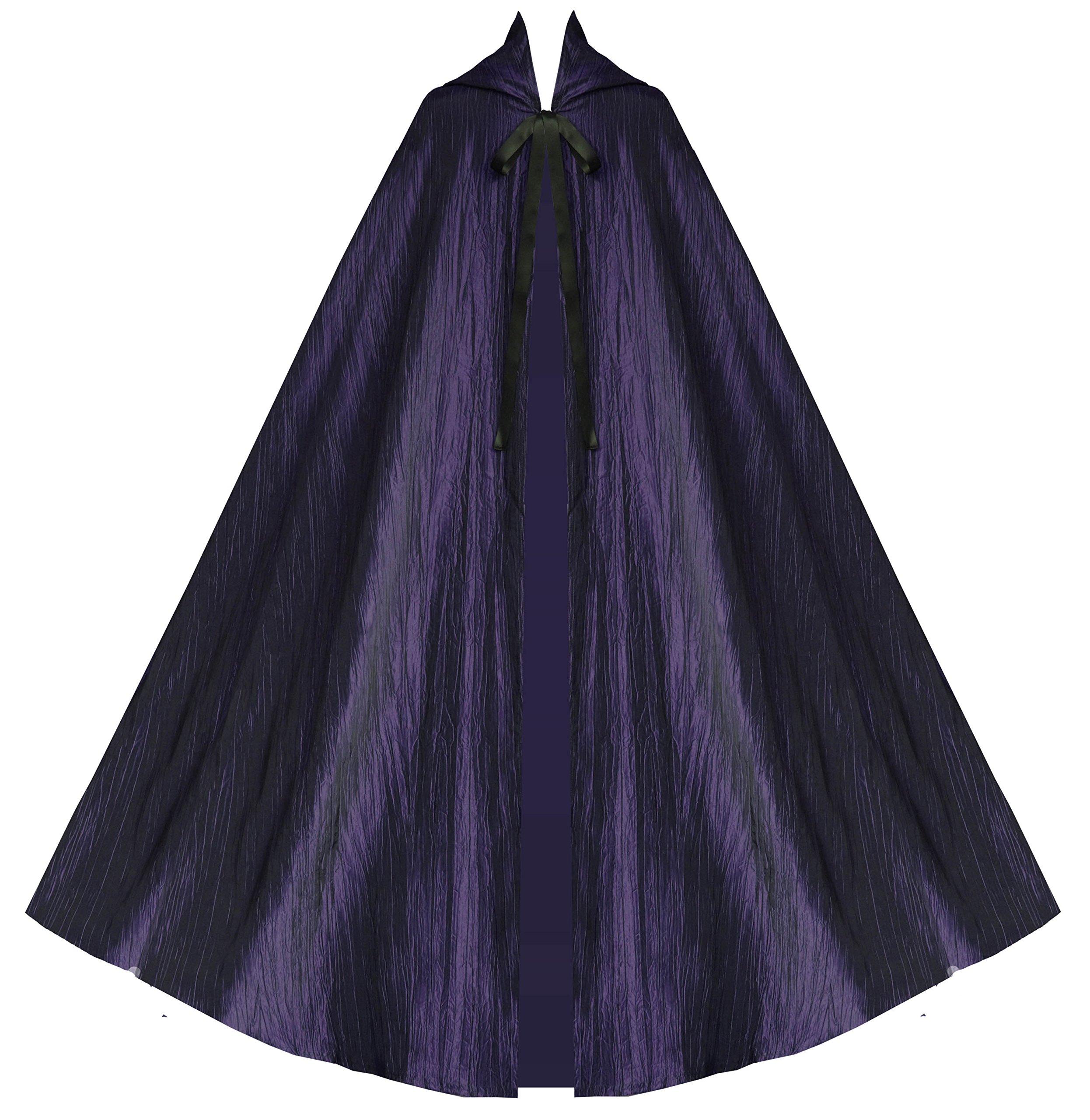 Historical Gothic Steampunk Victorian Hooded Renaissance Short Capelet Cloak Purple