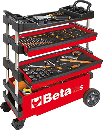 Beta Tools C27 S-R Automotive Single Mobile Tool Chest, Red
