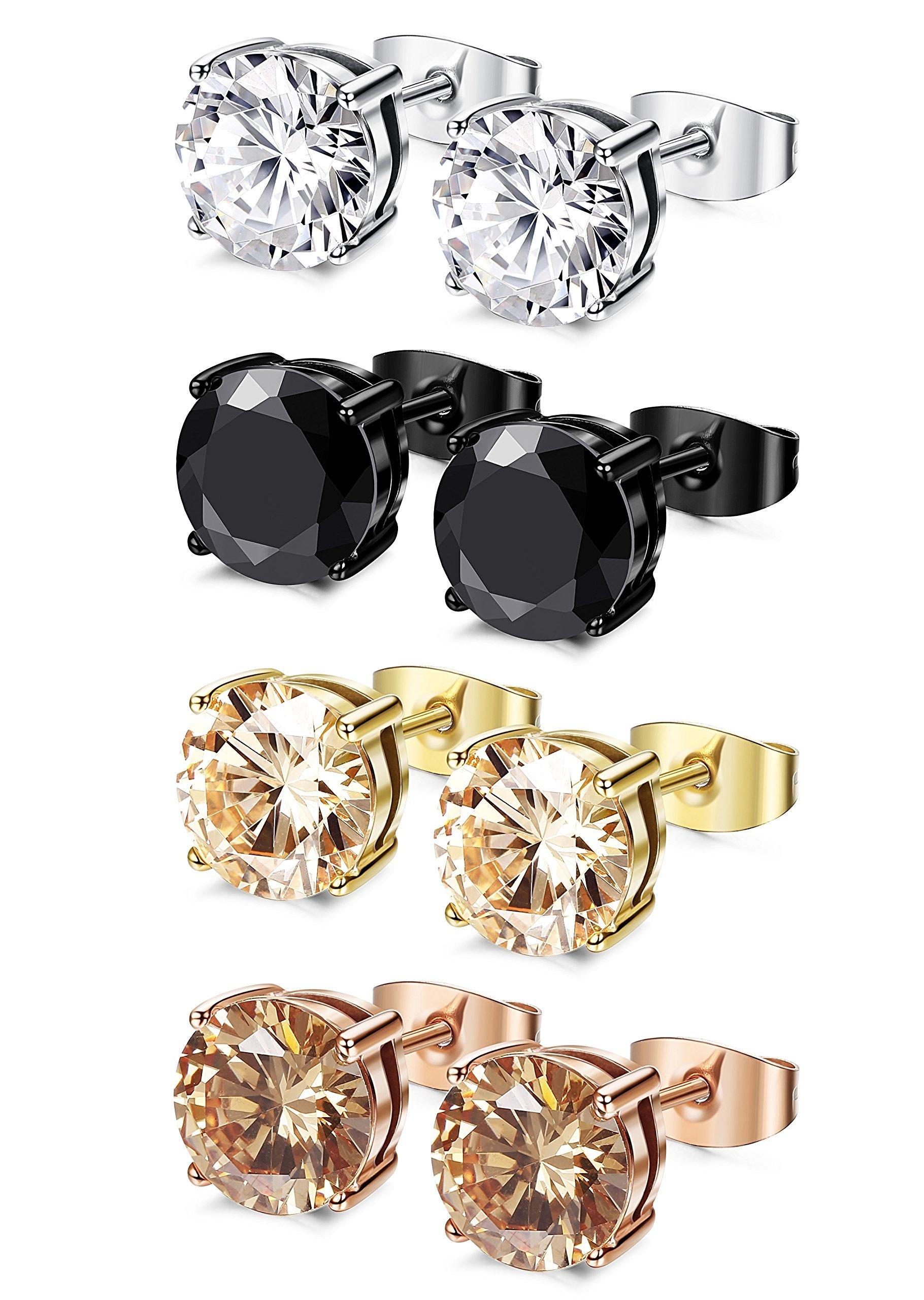 FIBO STEEL 4 Pairs Stainless Steel Round Stud Earrings for Men Women Ear Piercing Earrings Cubic Zirconia Inlaid,6 mm